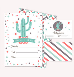 baby shower card with cute cactus vector image