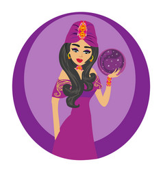 Beautiful fortuneteller woman vector