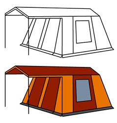 Big old family camping tent vector