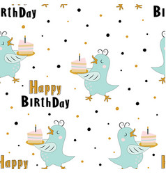 birthday pattern with bird in scandinavian style vector image