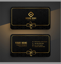 black dark and golden business card template vector image