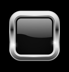 Black square glass button with chrome frame on vector