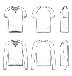 Blank v-neck t-shirt and tee vector image