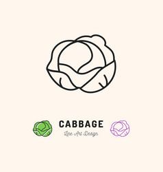 cabbage icon vegetables logo thin line art vector image