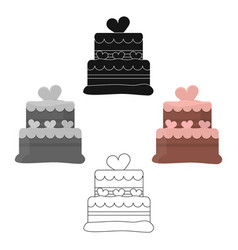 cake icon in cartoonblack style for web vector image