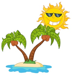 Cartoon Island With Two Palm Tree vector image