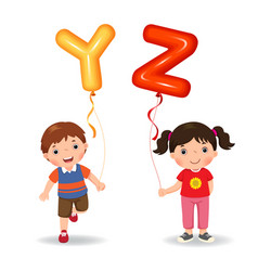 Cartoon kids holding letter yz shaped balloons vector