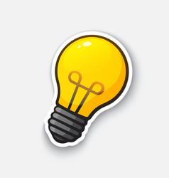 Cartoon sticker with light bulb vector