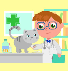 Cartoon vet office with dog vector