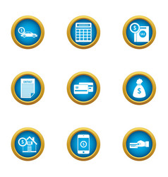 cash exhaust icons set flat style vector image