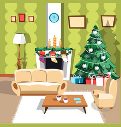 christmas winter holidays furniture and interior vector image