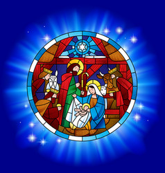 circle stained glass with the christmas and vector image