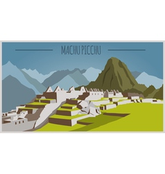 City buildings graphic template Peru Machu Picchu vector