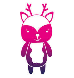 Color silhouette cute and happy deer wild animal vector