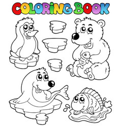 coloring book winter topic 1 vector image