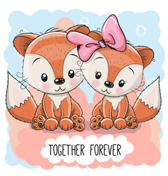 Cute cartoon foxes boy and girl vector