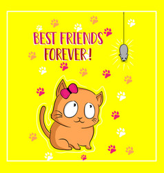 cute cat and mouse has a friend cartoon vector image