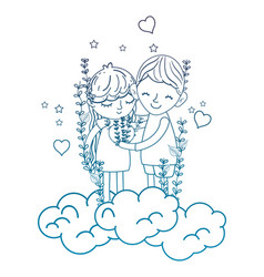 Degraded outline boy and girl in the clouds with vector