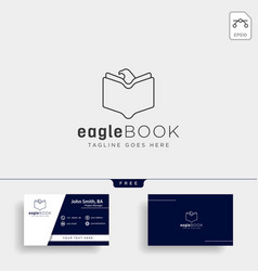 eagle or bird book education line logo template vector image