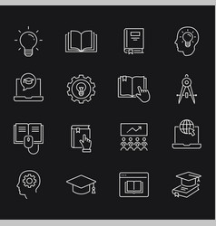 Education line icons set white vector