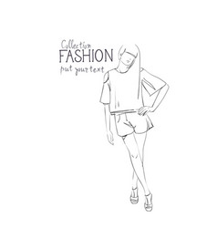 fashion collection of clothes female model wearing vector image