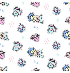 Fashionable girls patches seamless pattern vector