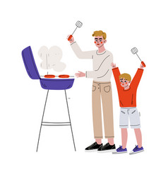 father and son grilling sausages on barbecue grill vector image