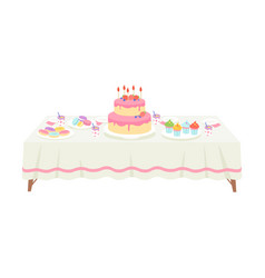 festive table with white tablecloth setting with vector image
