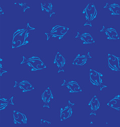 fresh fish seamless pattern vector image