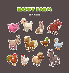 Funny farm animals stickers set vector