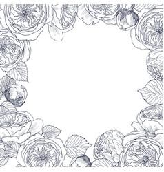 Garden tender english roses frame vintage vector