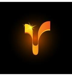 Golden arabic style letter v shiny latin alphabet vector
