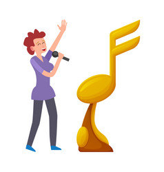 golden trophy isolated woman singing in microphone vector image