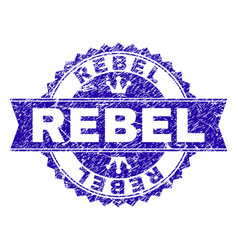 Grunge textured rebel stamp seal with ribbon vector