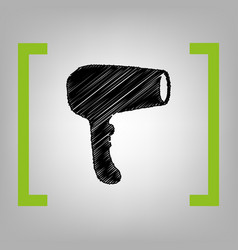 hair dryer sign black scribble icon in vector image vector image