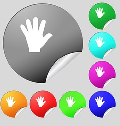 Hand icon sign Set of eight multi colored round vector