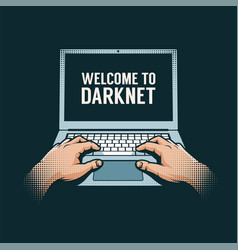 hands out dark on a laptop vector image