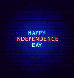 happy independence day neon text vector image