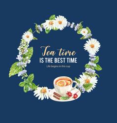Herbal tea wreath design with lemon teacup vector