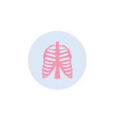 Human rib cage medical icon in circle flat vector