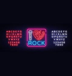 I love rock neon signboard rock music neon sign vector