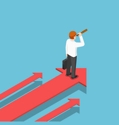 Isometric businessman with telescope standing on vector