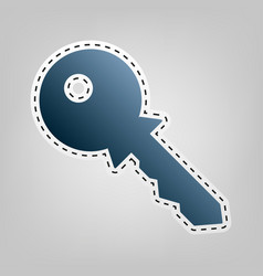 key sign blue icon with vector image