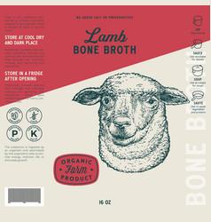 Lamb bone broth label template abstract vector