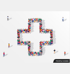 Large group people seen from above gathered vector