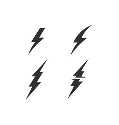 lightning bolt electricity power set vector image