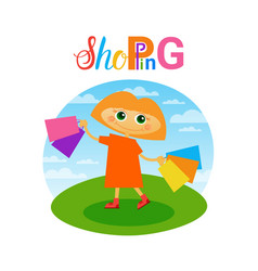 Little girl holding shopping bags small child vector