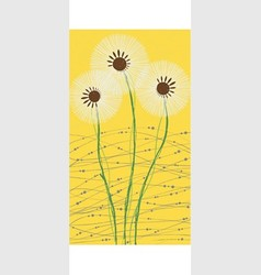 Long card white dandelion vector