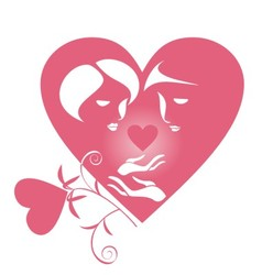lovers with a heart vector image vector image
