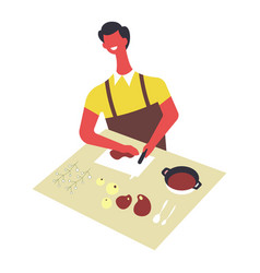 Man in apron cooks food and serves in bowls male vector